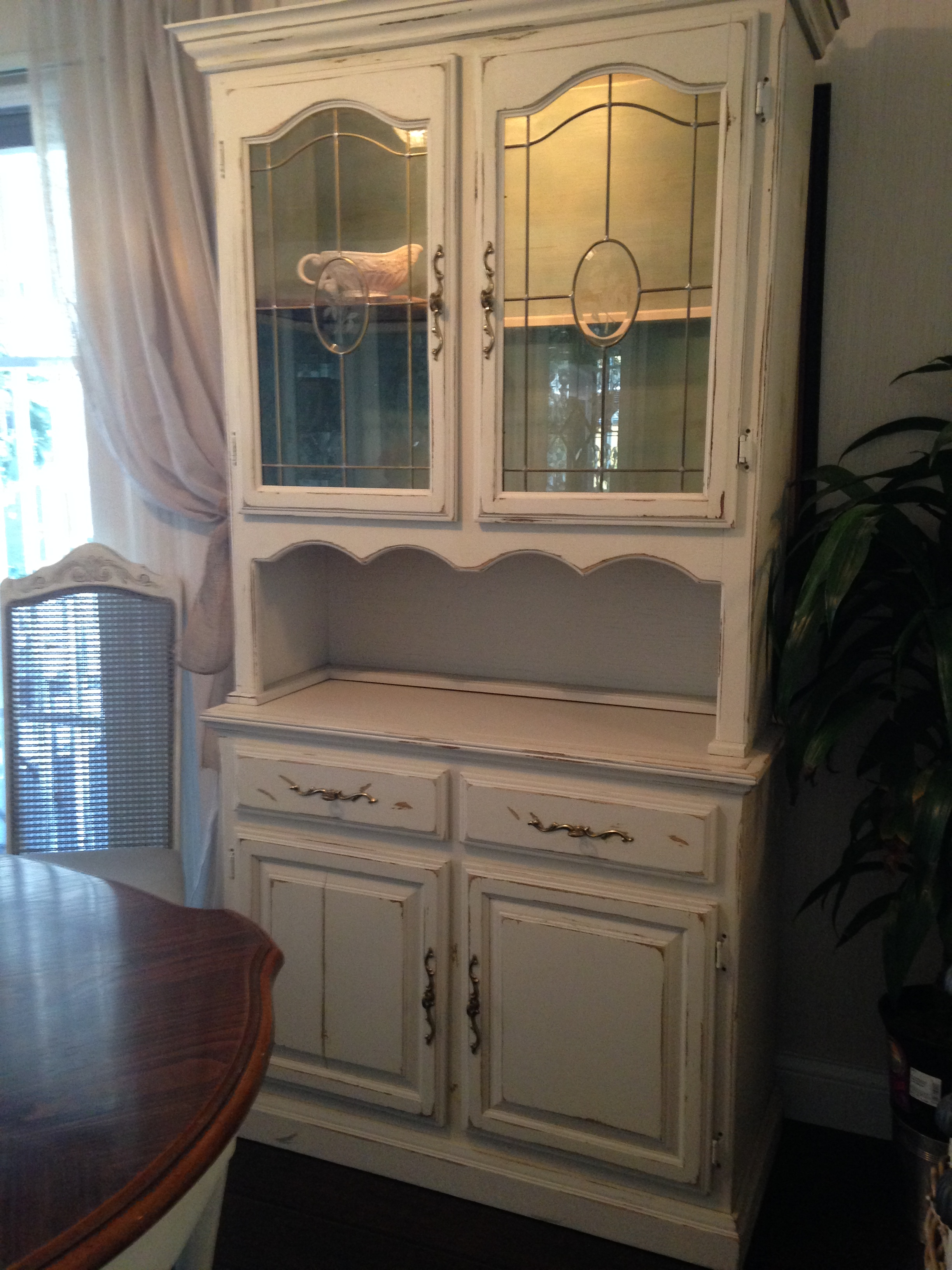 French Country China Cabinets - French country farmhouse style china hutch and buffet crafted in two pieces for easy movement upper with etched glass doors and glass shelf finished
